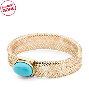 Made In Italy 14k Gold Turquoise Stretch Ring