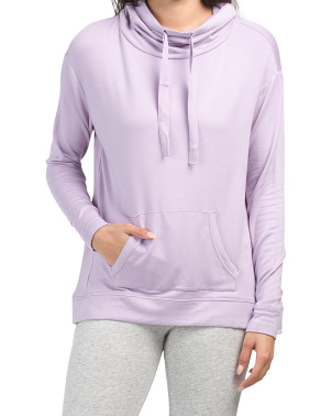 Long Sleeve Drawstring French Terry Knit Top