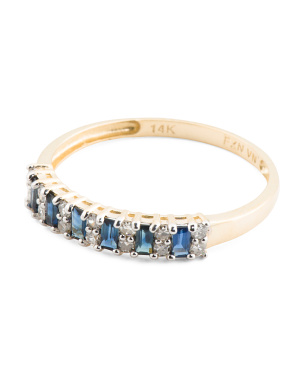 14kt Gold Genuine Sapphire And Diamond Ring