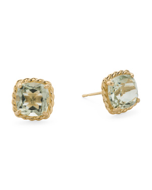 14kt Gold Green Amy Cushion Stud Earrings