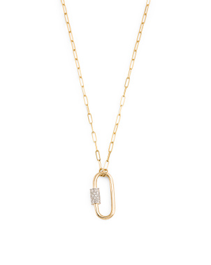 14 Karat Gold Paperclip Chain With Diamond Caribiner