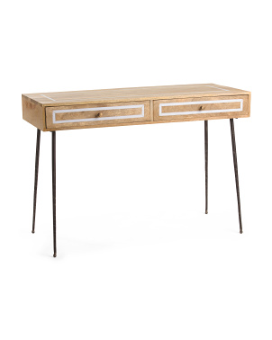 Mango Wood Marble Inlay Desk