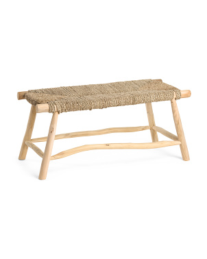 Waverly Seagrass Bench With Teak Legs