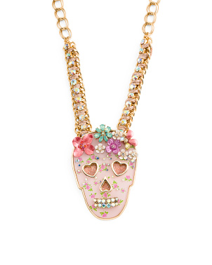 Flower Crown Skull Chain Necklace