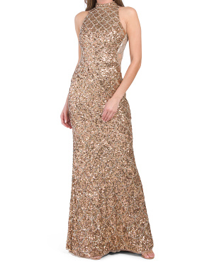 High Neck Sequin Sheath Dress With Beaded Side Detailing