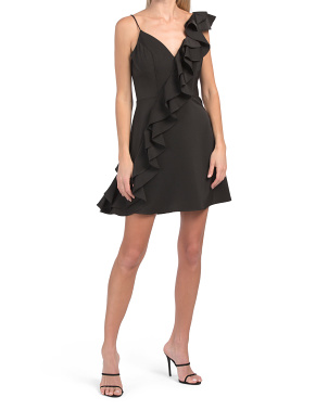 V-neck Cocktail Dress With Ruffle Detailing Throughout