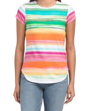 Short Sleeve Rainbow Striped Knit Top