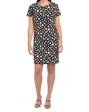 Dotted Ity Short Sleeve Dress With Grommet Details