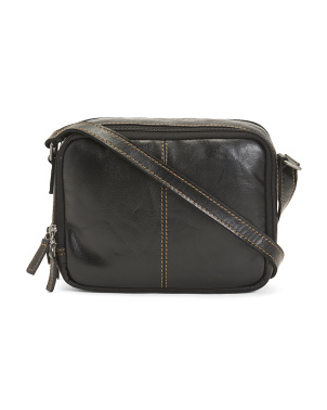 Leather Double Zippered Crossbody