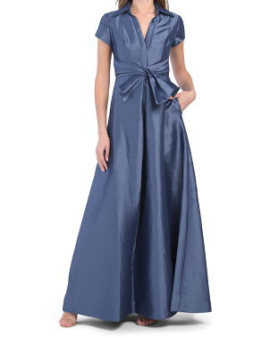 Short Sleeve Zibeline Shirt Gown With Front Bow