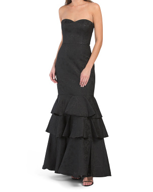 Strapless Ruffled Tiered Gown
