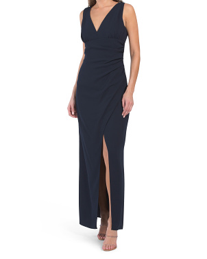 V-neck Side Ruched Dress