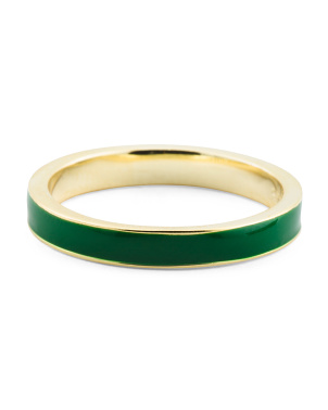 14k Gold Plated Sterling Silver Enamel Band Ring