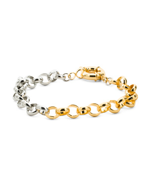 Half And Half Two Tone Chain Bracelet