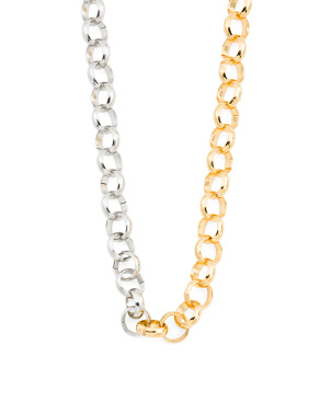 Half And Half Two Tone Chain Necklace