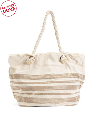 Canvas Oversized Beach Tote With Rope Handles
