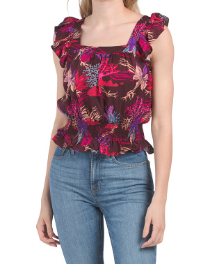 Square Neck Printed Top With Smocking
