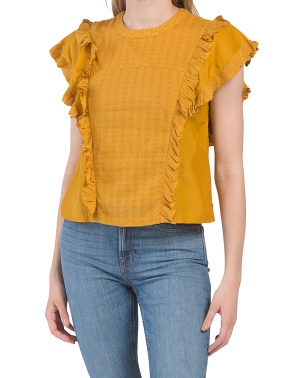 Cotton And Silk Ruffle Top