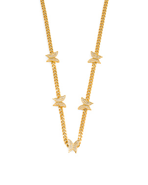 18k Gold Plated Cz Butterfly Chain Necklace