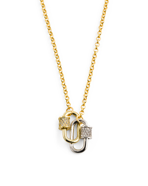18k Gold Plated Cz Double Mini Lock Necklace