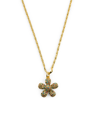 18k Gold Plated Cz Flower Necklace