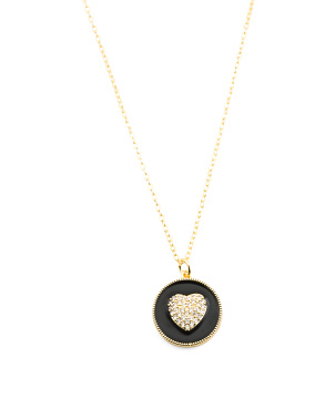 18k Gold Plated Cz Heart Enamel Necklace