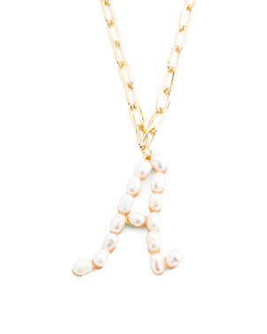 18k Gold Plated Freshwater Pearl Initial Necklace