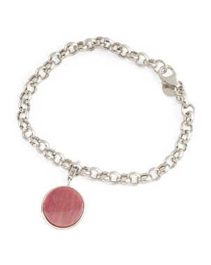Made In Italy Sterling Silver Sponge Coral Charm Bracelet