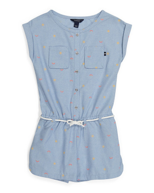 Big Girls Rainbow Printed Chambray Romper