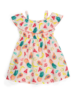 Toddler Girls Cold Shoulder Fruit Dress