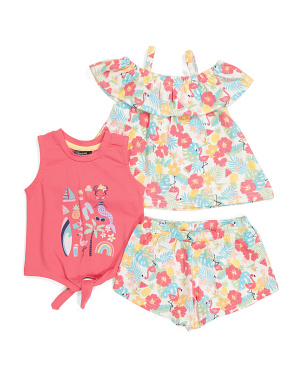 Toddler Girls 3pc Floral Short Set