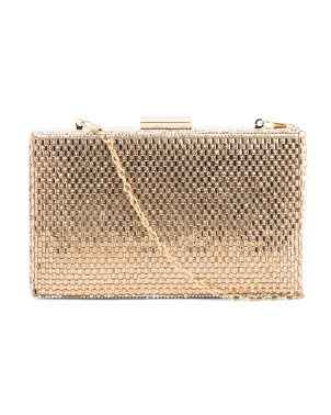 Square Crystalized Chain Clutch