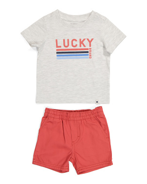 Infant Boy Tee And Woven Short Set