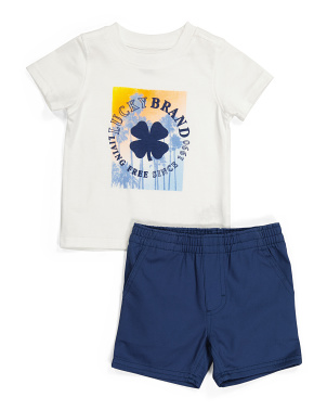 Little Boy Tee And Woven Short Set