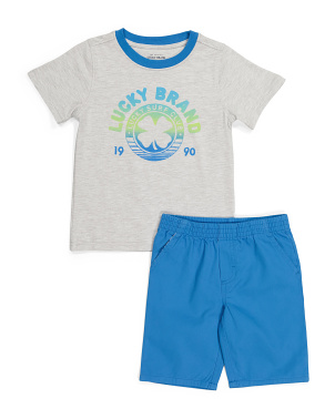 Little Boys 2pc Tee And Woven Short Set