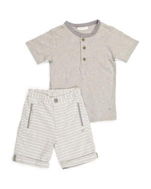 Little Boy Henley And Shorts Set