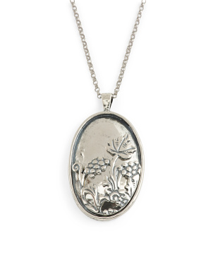 Made In Israel Sterling Silver Flower Pendant Necklace