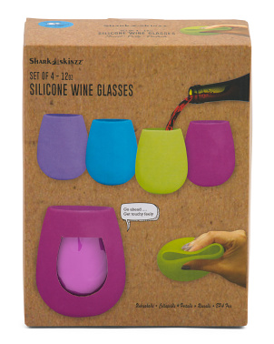 4pk Silicone Indoor Outdoor Wine Glasses