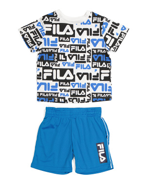 Toddler Boy 2pc All Over Print Tee And Short Set