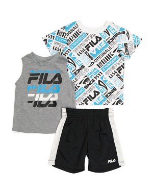 Toddler Boy 3pc All Over Print Tee And Shorts Set