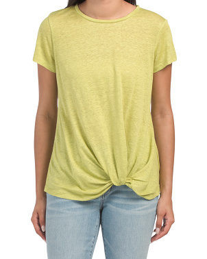 Linen T-shirt With Side Gather