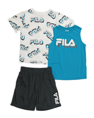 Little Boy 3pc All Over Print Tee And Shorts Set