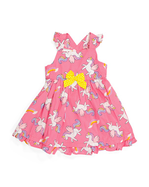 Toddler Girls Flutter Sleeve Poplin Dress