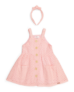 Toddler Girls Eyelet Button Dress