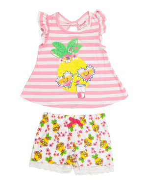 Toddler Girls 2pc Tropical Shorts Set