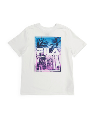 Big Boys Palm Print Logo Tee