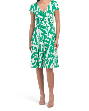 Double V Printed Jersey Wrap Style Dress