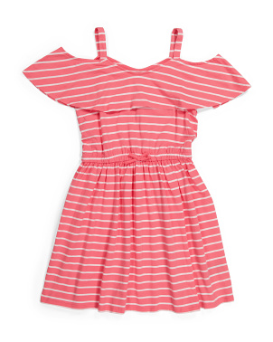 Big Girls Striped Cold Shoulder Dress