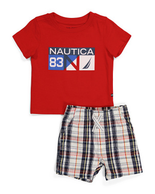 Infant Boy Tee And Plaid Short Set