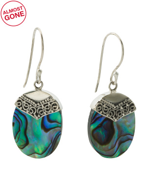 Made In Bali Sterling Silver Abalone Earrings